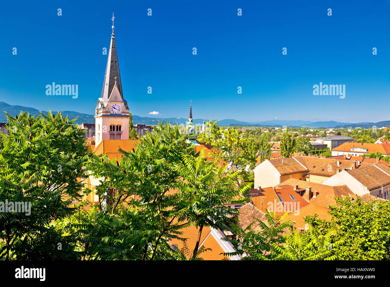 Ljubljana green cityscape aerial view, capital of Slovenia - Stock Image