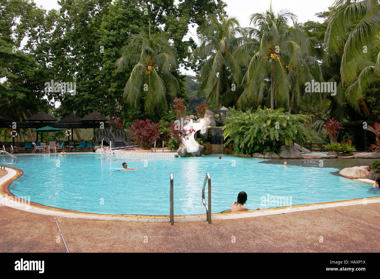 Tourists swim in the hotel pool  Sabah Hotel  Sandakan