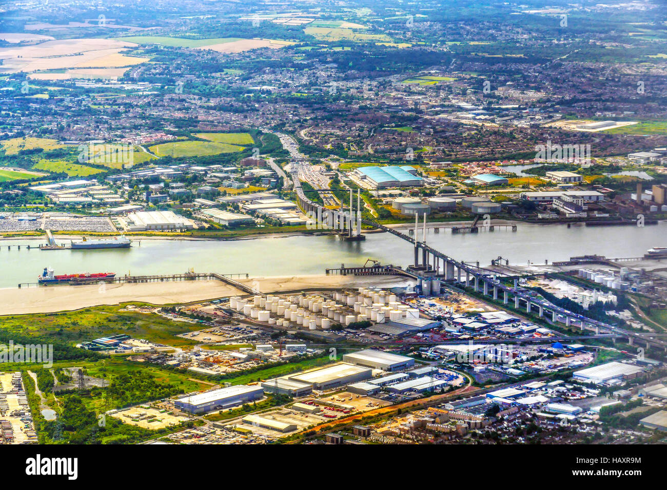 The Dartford Bridge Crossing over the river Thames looking North, Essex to South, Kent from an aeroplane landing Stock Photo