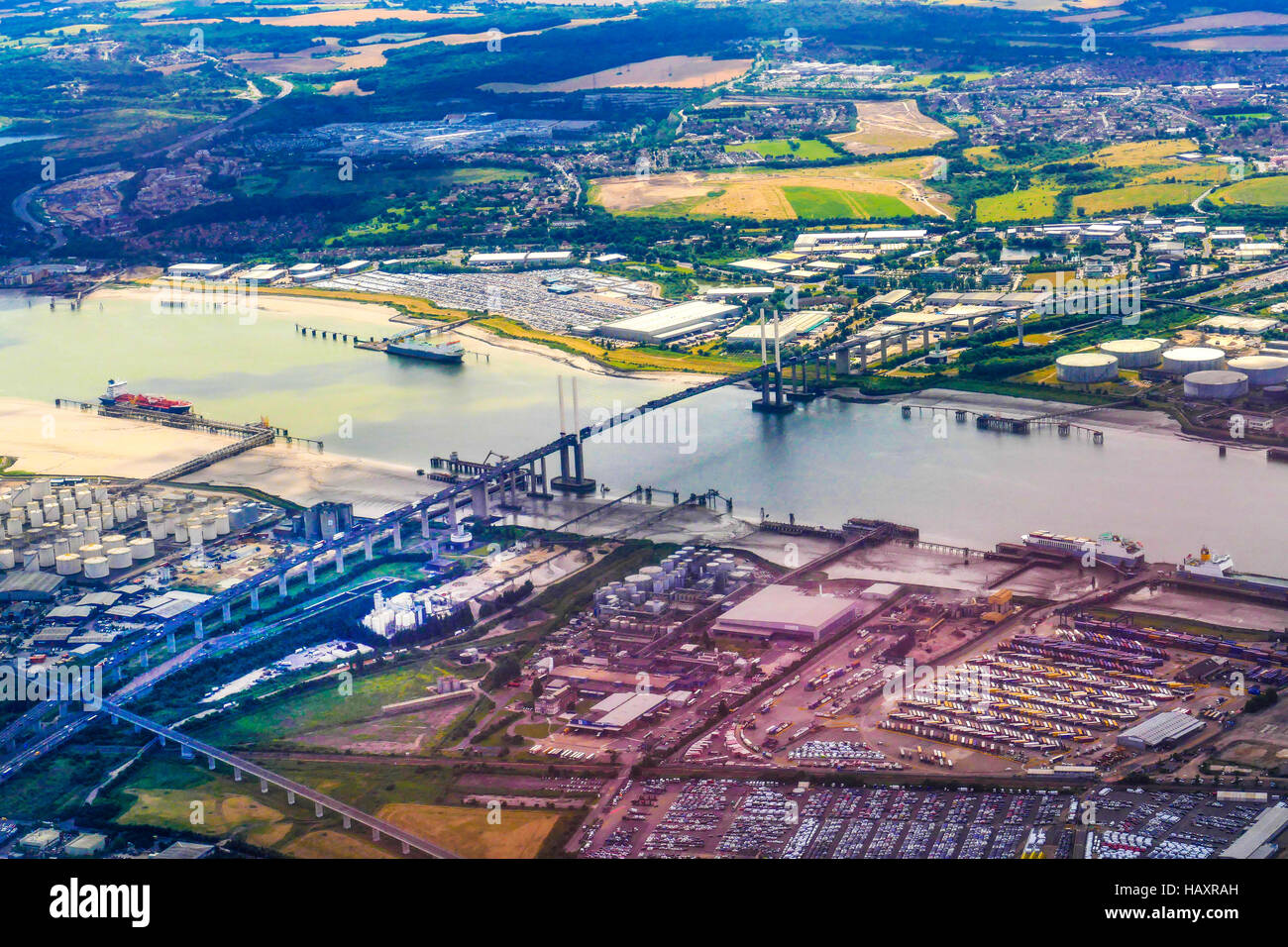 The Dartford Bridge Crossing over the river Thames looking North, Essex to South, Kent from an aeroplane landing - Stock Image