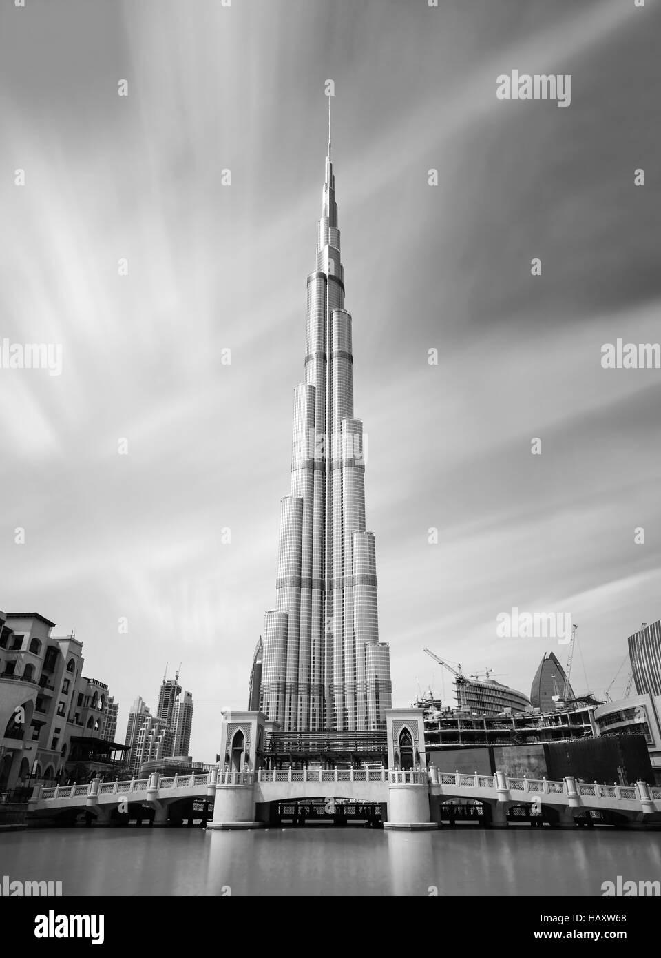 DUBAI, UNITED ARAB EMIRATES - FEBRUARY 29, 2016: View on Burj Khalifa tallest building in the world,Dubai,United Stock Photo