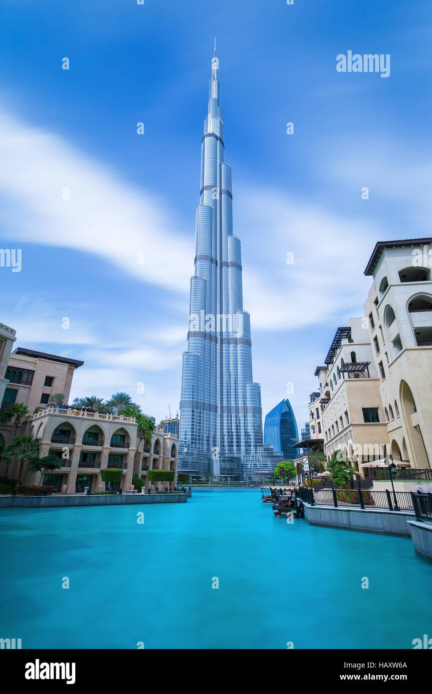 DUBAI FINANCIAL CENTER,UNITED ARAB EMIRATES-FEBRUARY 29, 2016: View on Burj Khalifa (hight 828 m) in center of Dubai,United Stock Photo