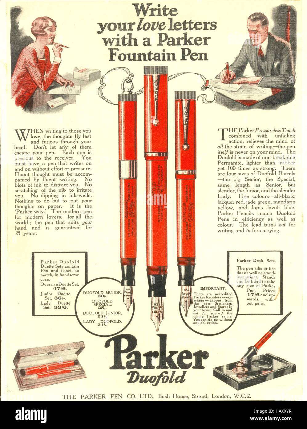 Advertisement for Parker Fountain Pens - Stock Image