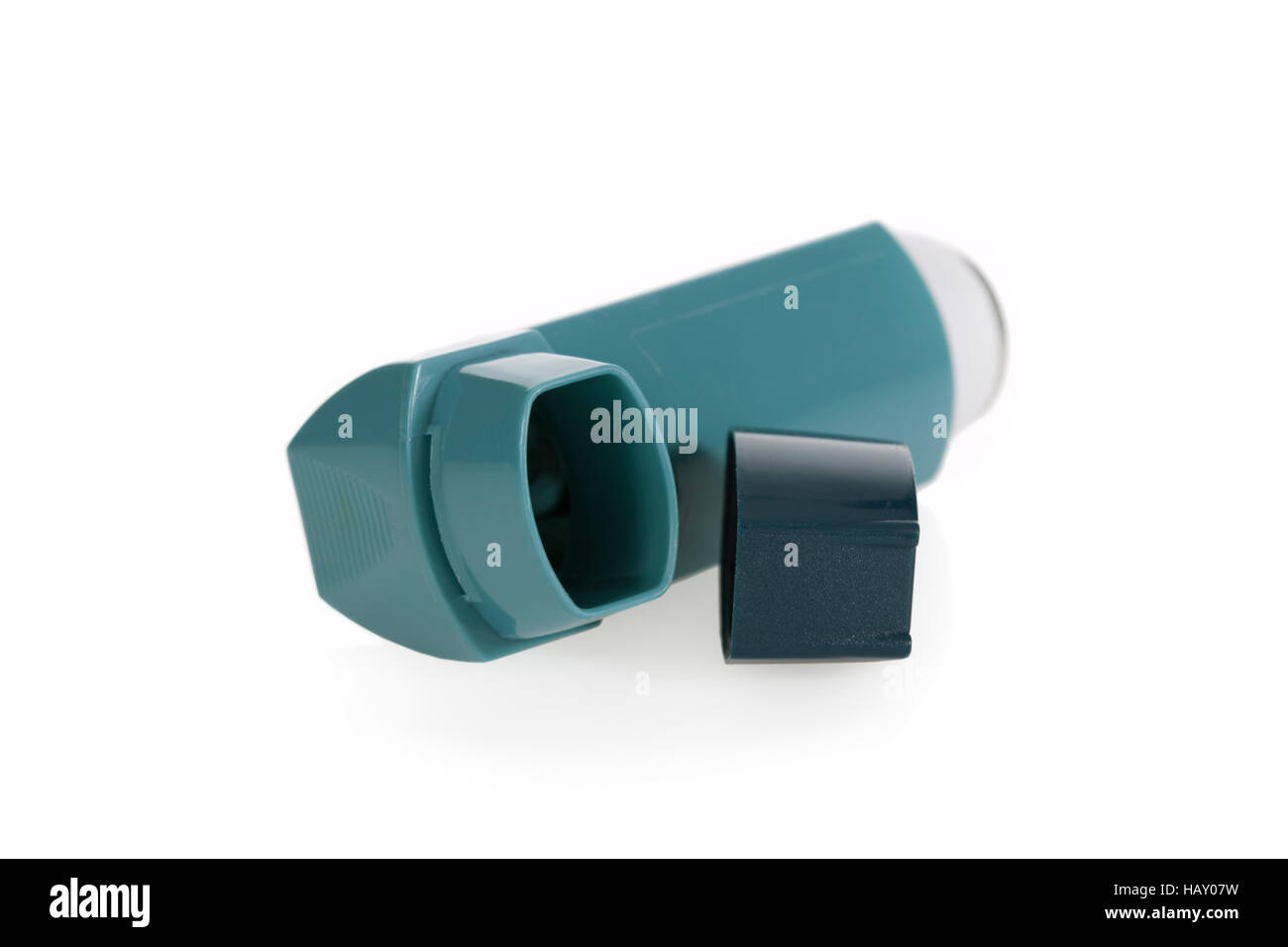Asthma inhaler isolated on a white background - Stock Image