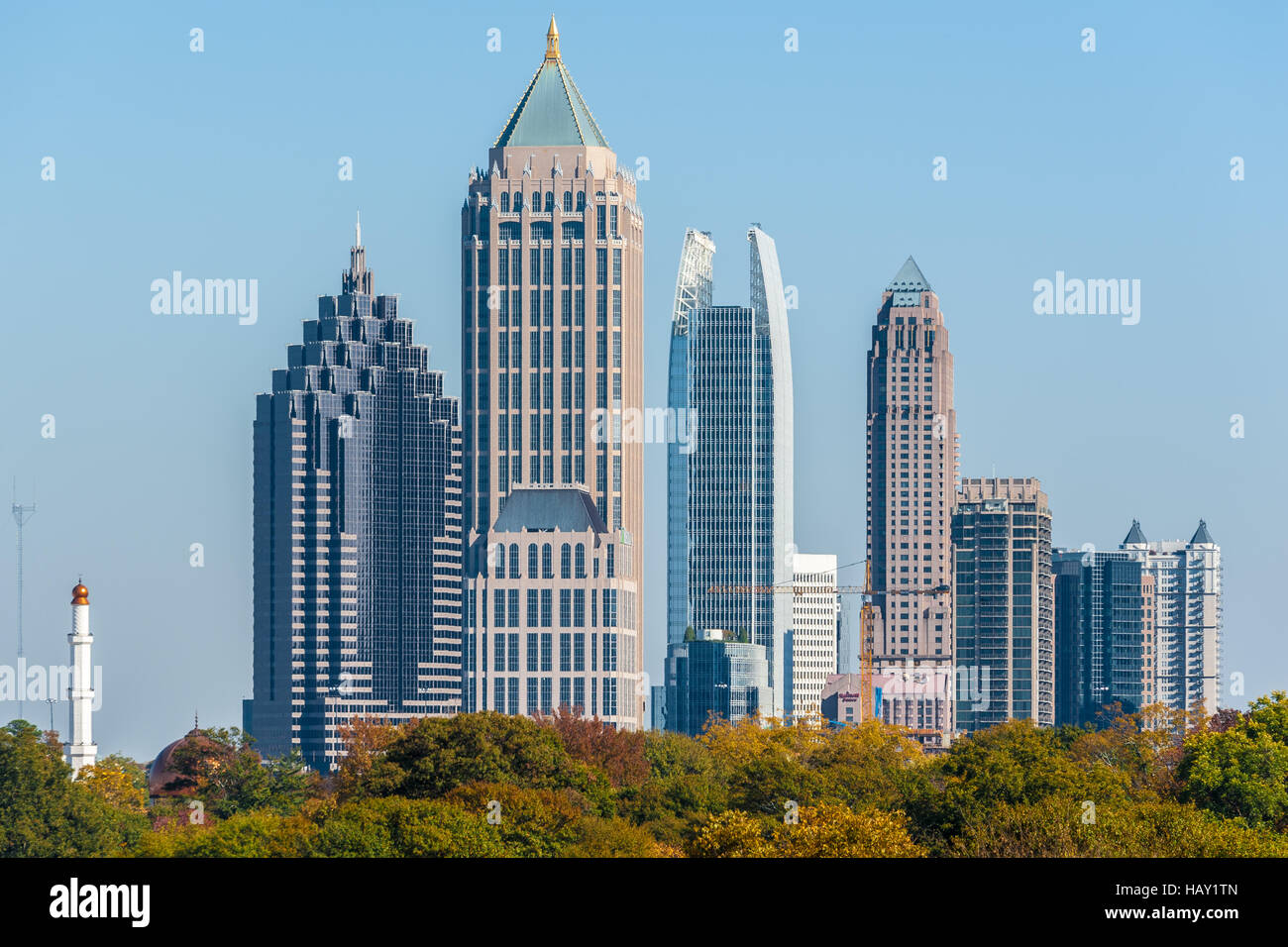 midtown atlanta georgia skyline with commercial buildings and stock