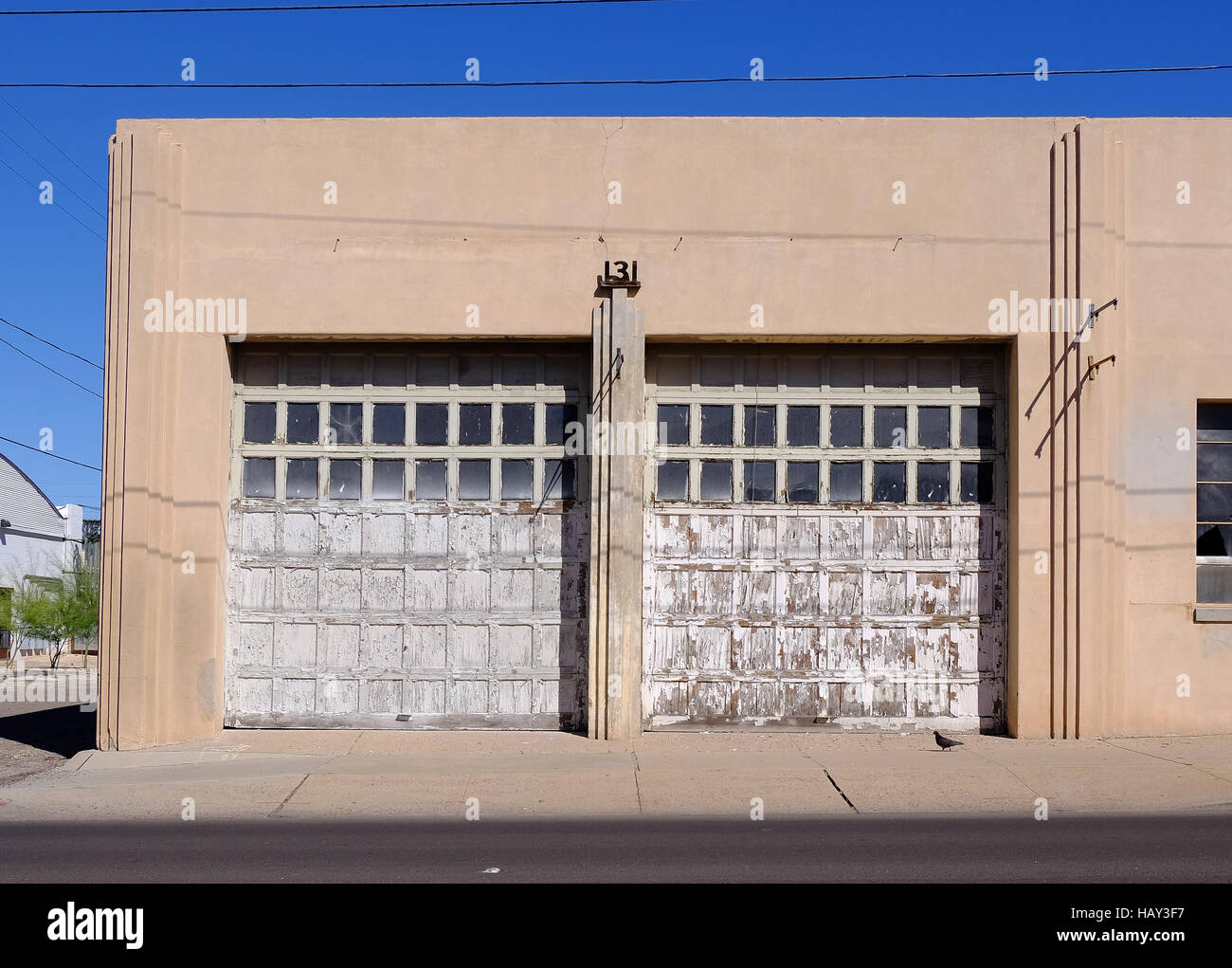 Garage door on an old Art Deco building. & Garage door on an old Art Deco building Stock Photo: 127214619 - Alamy