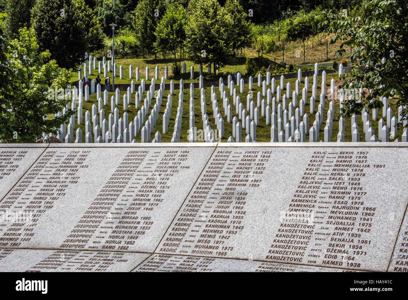 Srebrenica, Potocari Genocide Cemetery, Bosnia and Herzegovina, Stock Photo