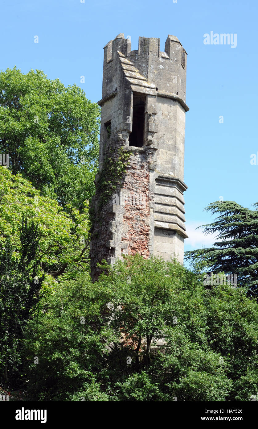 Partially demolished tower and wall with a door from the tower that opens into empty space. Bishop's Palace Gardens, - Stock Image