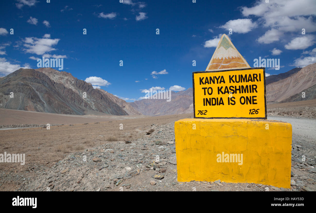 Indian road sign in the Himalayan mountain range, Ladakh, India Stock Photo
