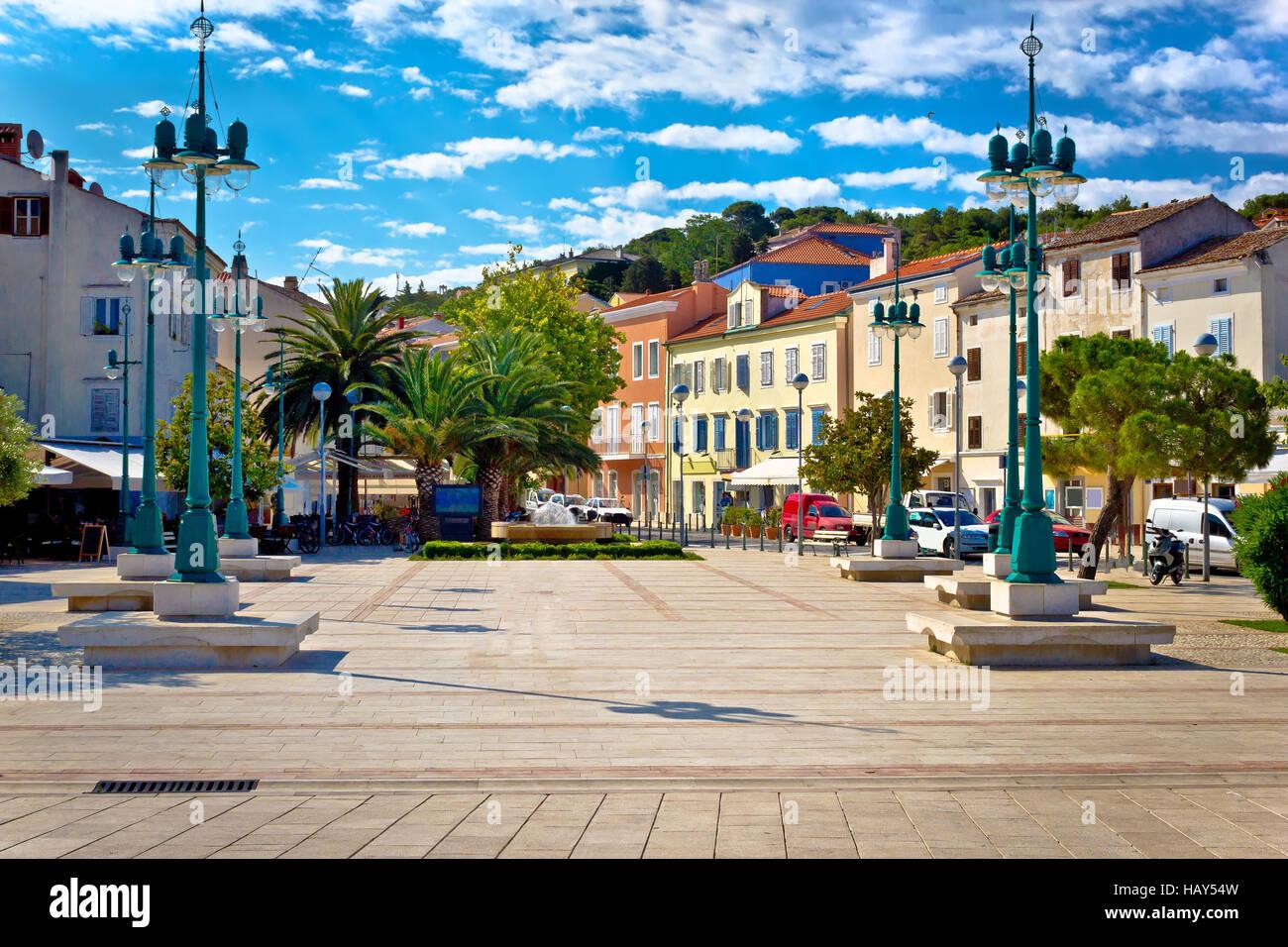 Mali Losinj square colorful architecture, Dalmatia, Croatia Stock Photo