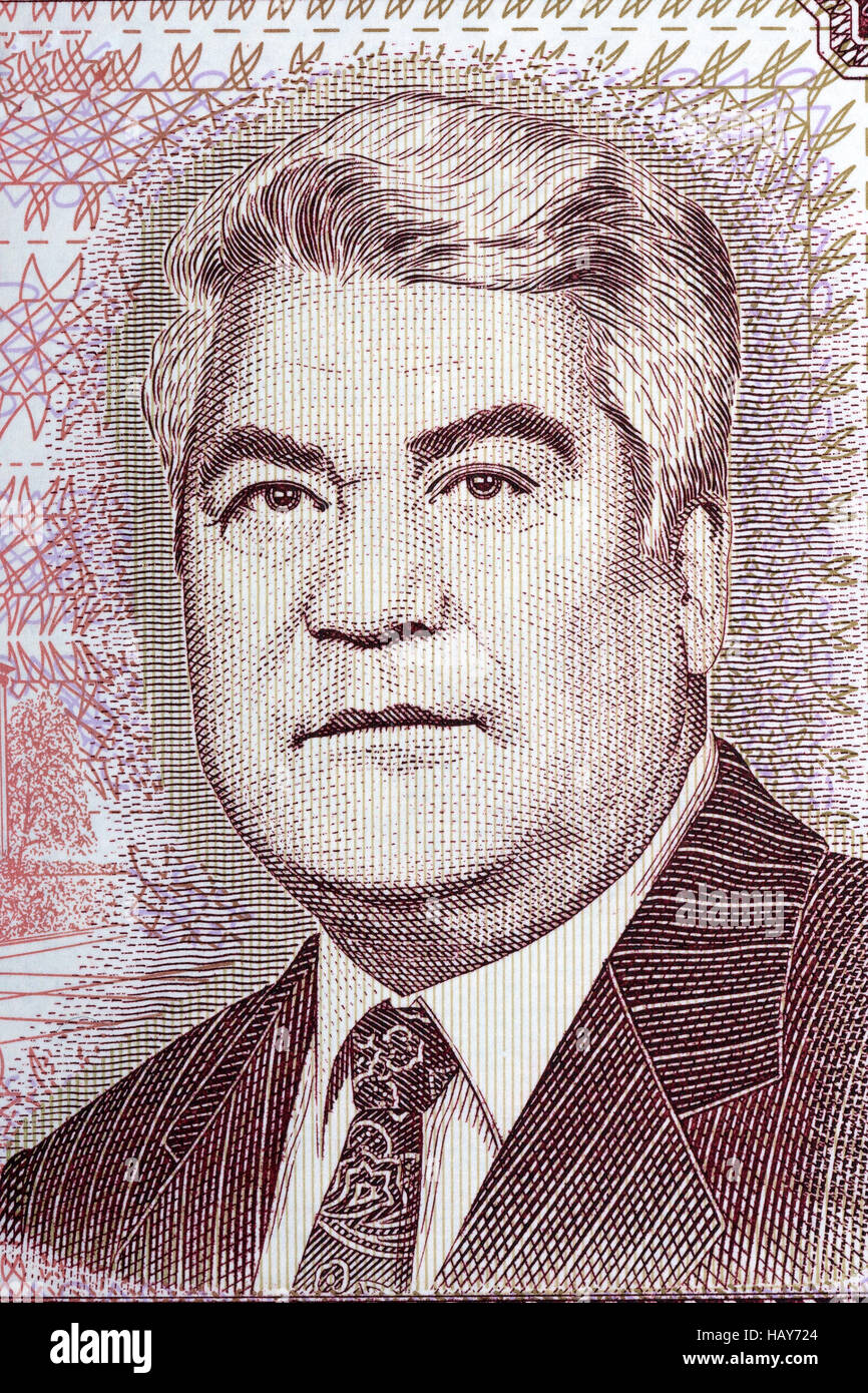 Saparmurat Niyazov portrait from Turkmenistan money - Stock Image