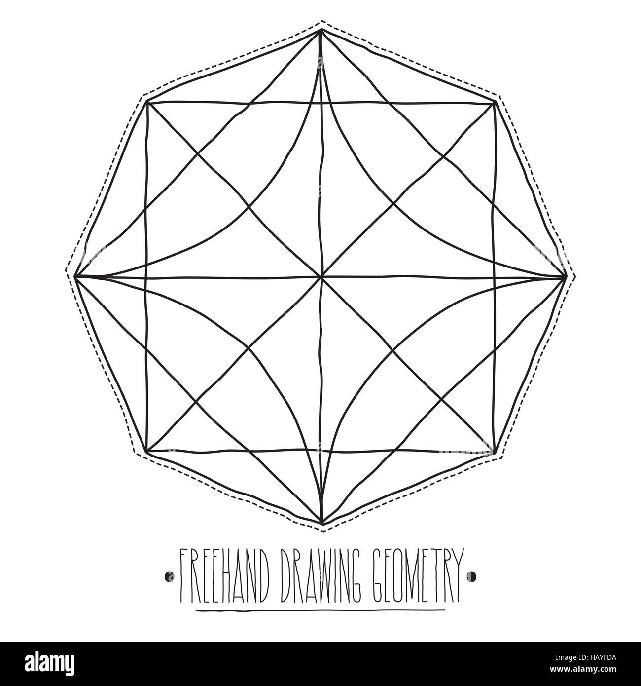 Hollow core geometric figures and elements with lines polyhedron - Stock Image