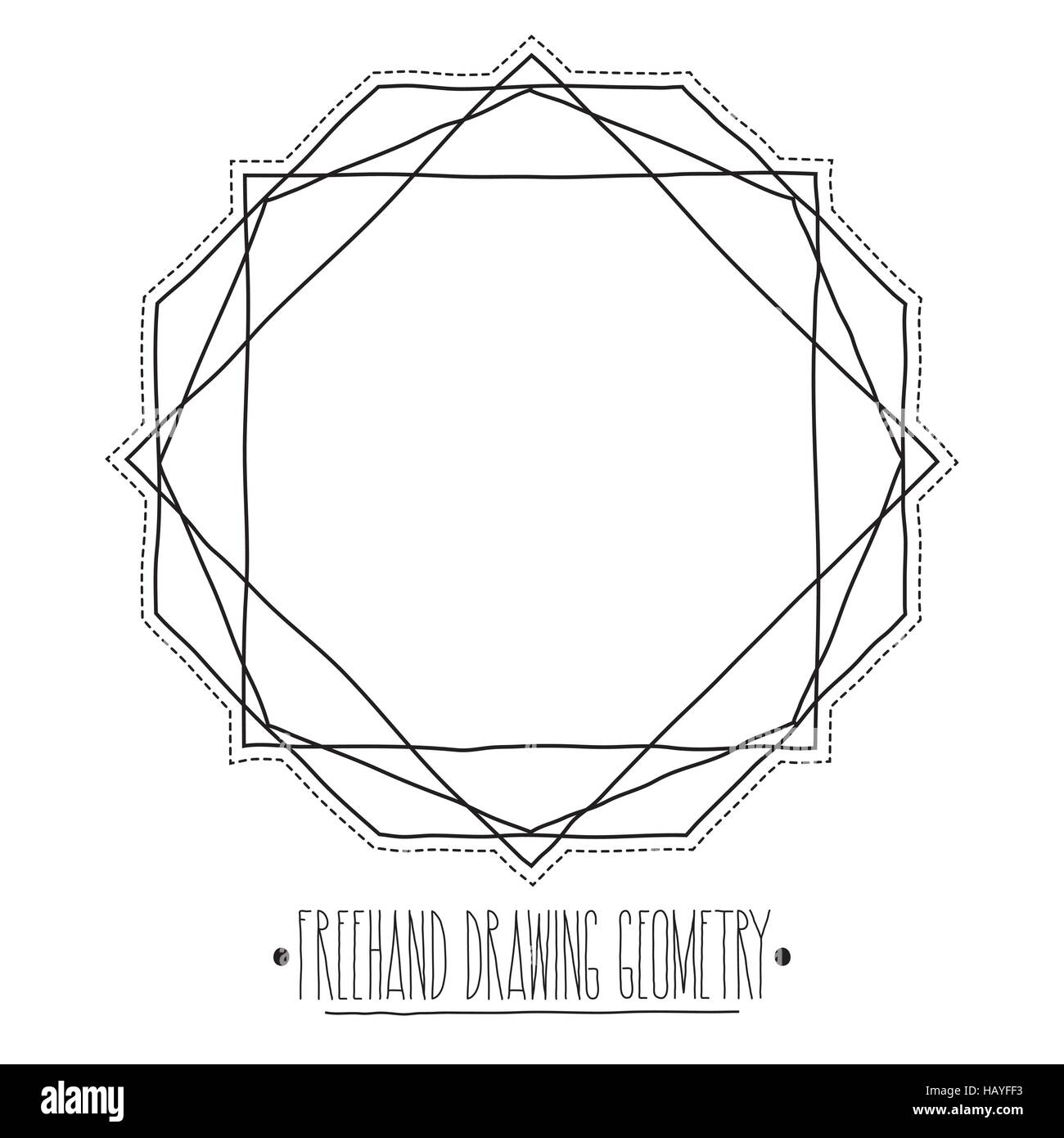 Hollow core geometric shapes and elements with lines polyhedrons - Stock Vector
