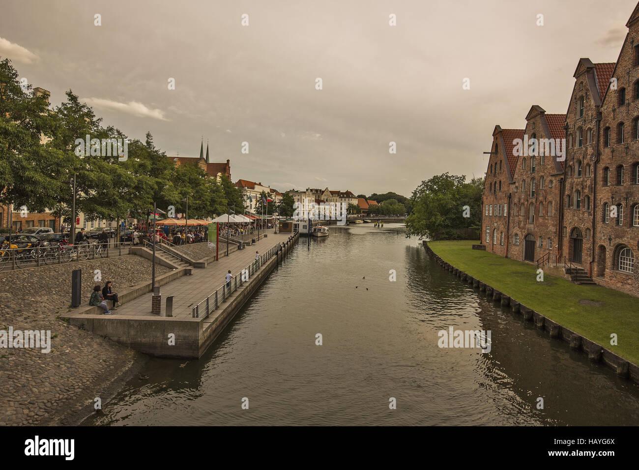 Lübeck - Upper Trave - Stock Image