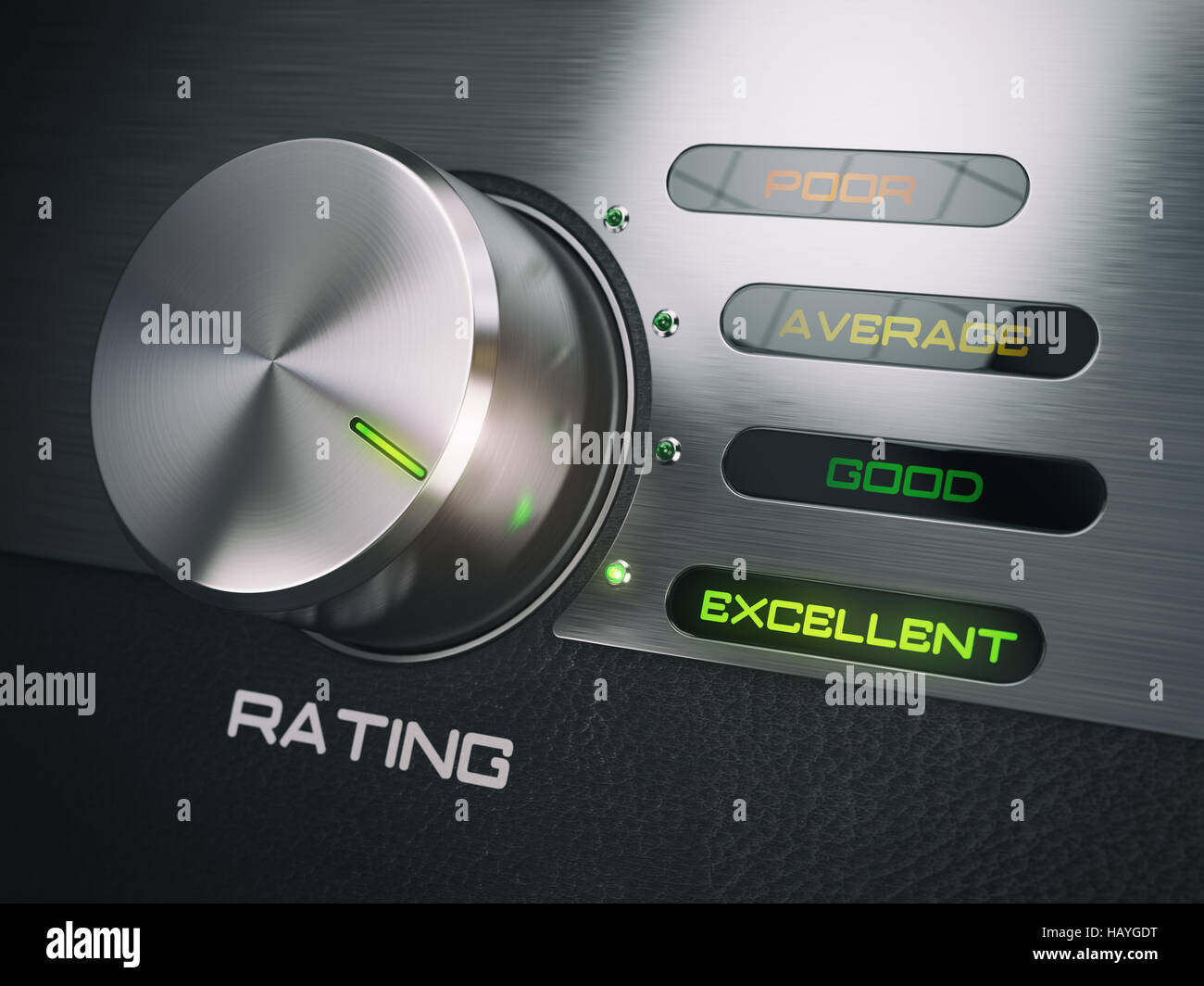 Level of quality service, satisfaction, customer loyalty concept. Knob in highest excellent position. 3d illustration - Stock Image