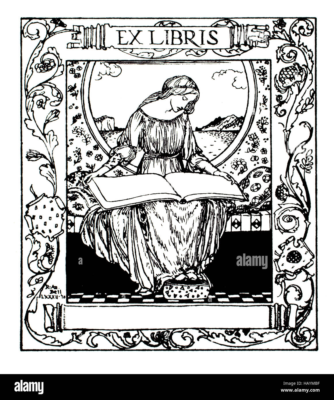 Ex Libris blank library bookplate by R Anning Bell, line illustration from 1911 Studio Magazine - Stock Image