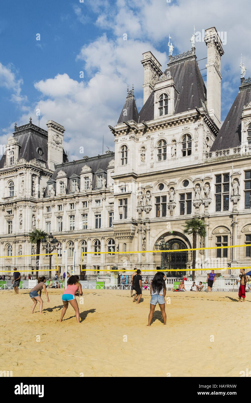 volleyball, city hall, paris - Stock Image