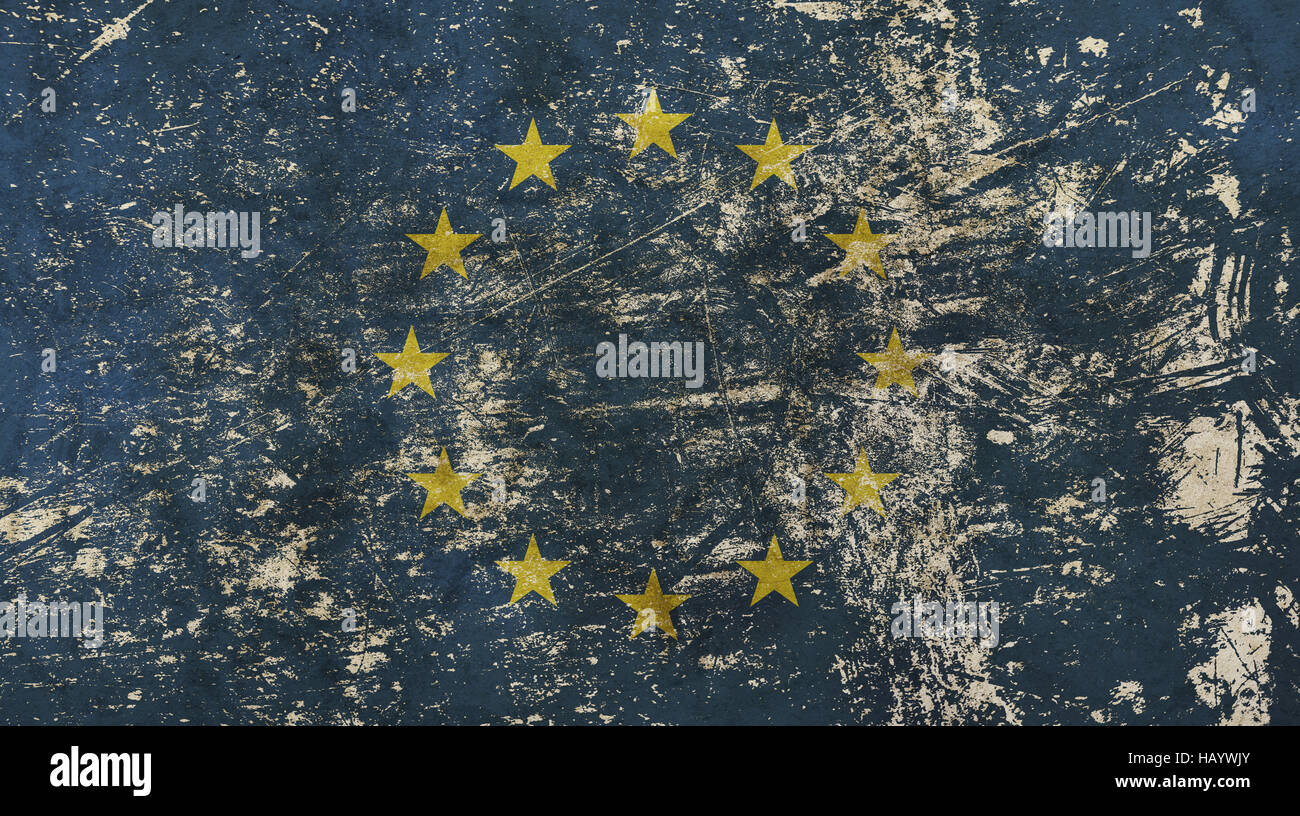 56eef63209cb9 Old grunge vintage dirty faded shabby distressed European Union EU national  flag background - Stock Image