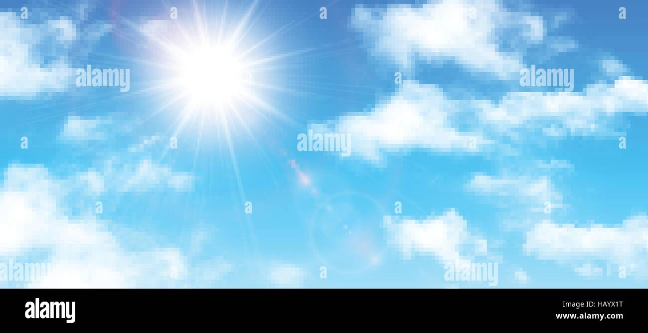 Sunny background, blue sky with white clouds and sun, vector illustration. - Stock Vector