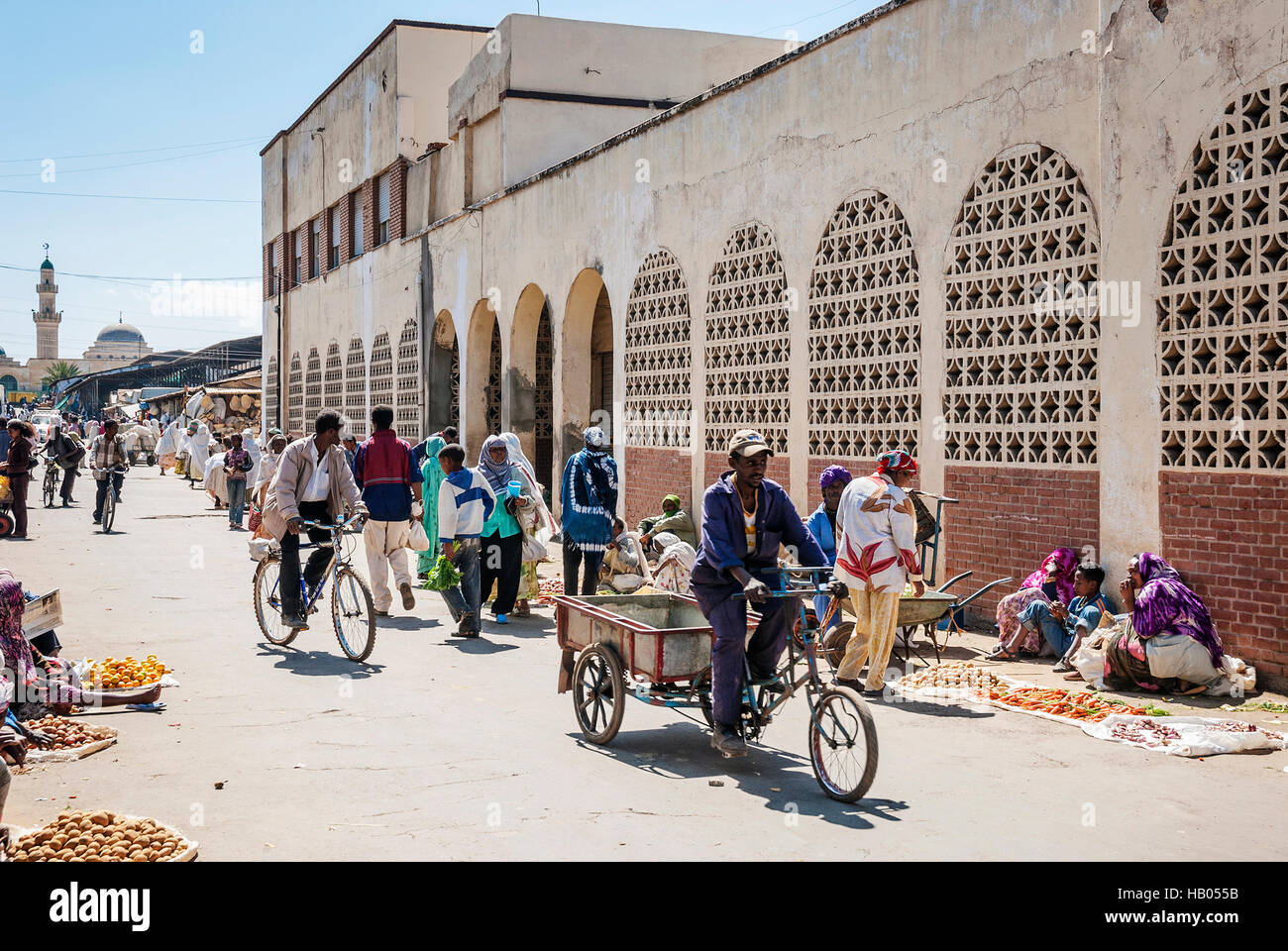 street in central market shopping area of asmara city eritrea - Stock Image