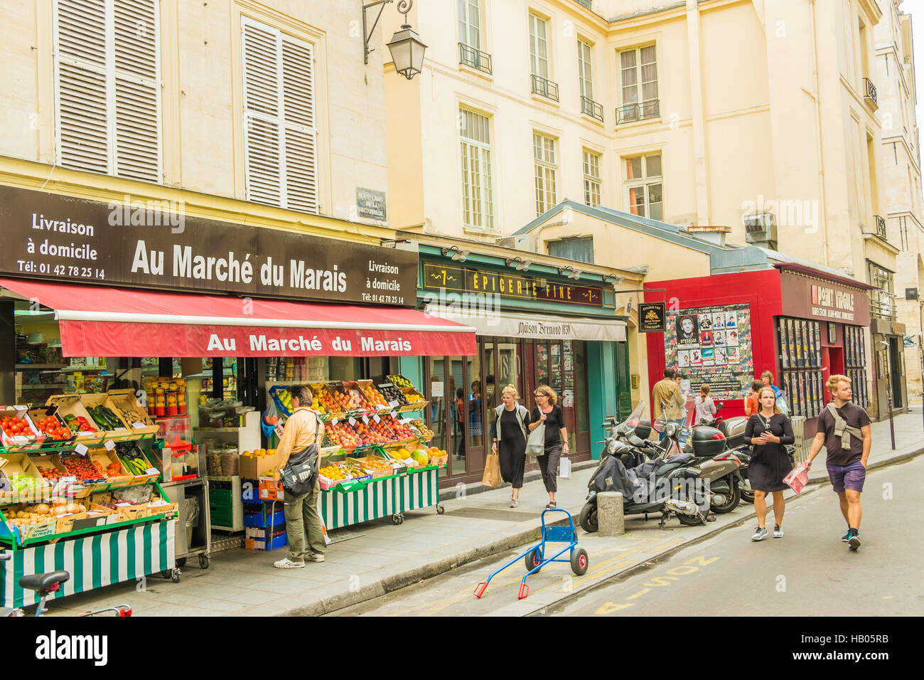 street scene in front of  au marché du marais , grocery store, marais district Stock Photo