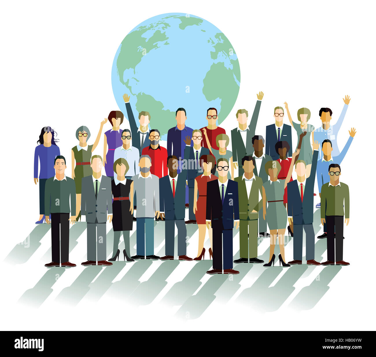 Group of people in front of a globe - Stock Image