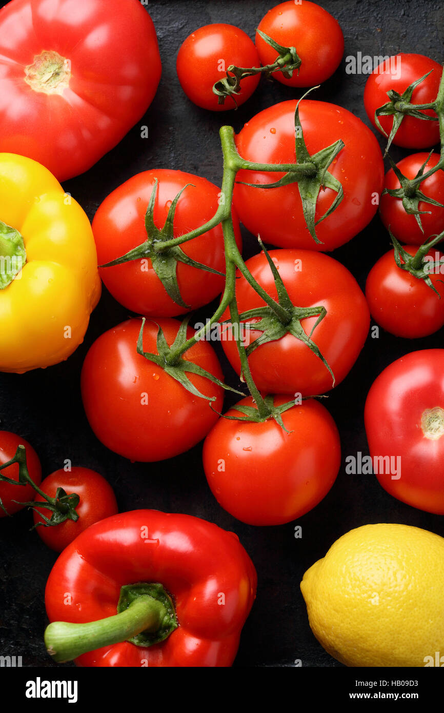 Dark vegetables background, food top view - Stock Image