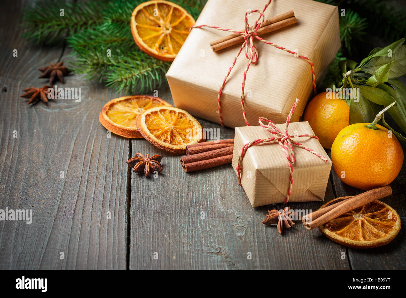 Christmas Decoration With Mandarines Gifts Cinnamon Anise Stars