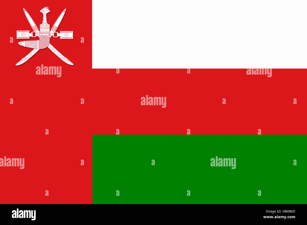 National flag of Sultanate of Oman - Stock Image