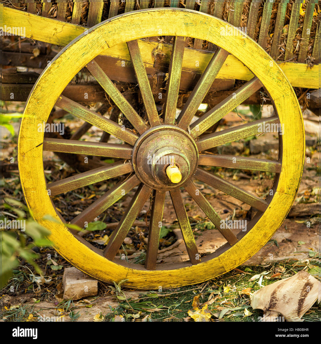 Painted Wooden Wheel Stock Photos & Painted Wooden Wheel Stock ...