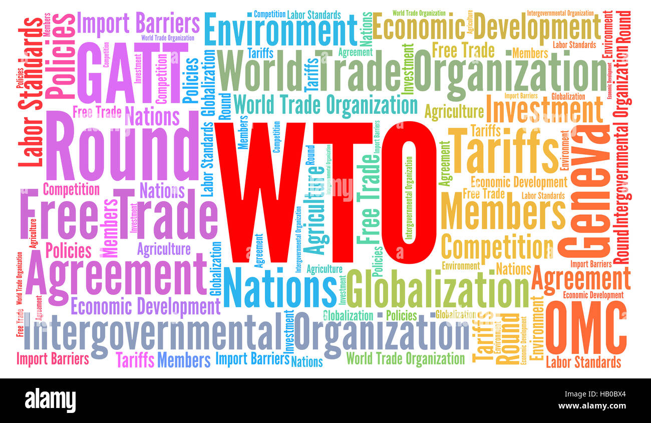 WTO word cloud concept - Stock Image
