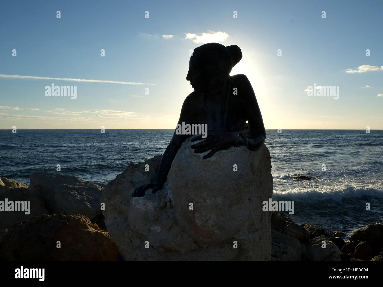 """Sol Alter"" by Yiota Ioannidou, this sculpture or statue sits next to the Paphos Coastal path near Paphos Fort at - Stock Image"