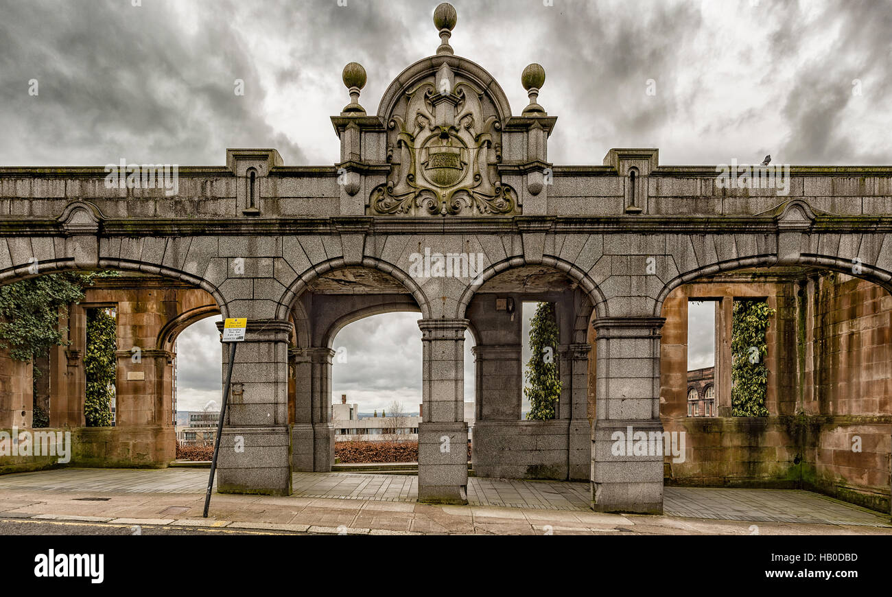 Rottenrow gardens entrance is all that remains of the rottenrow maternity hospital that used to occupy the site Stock Photo