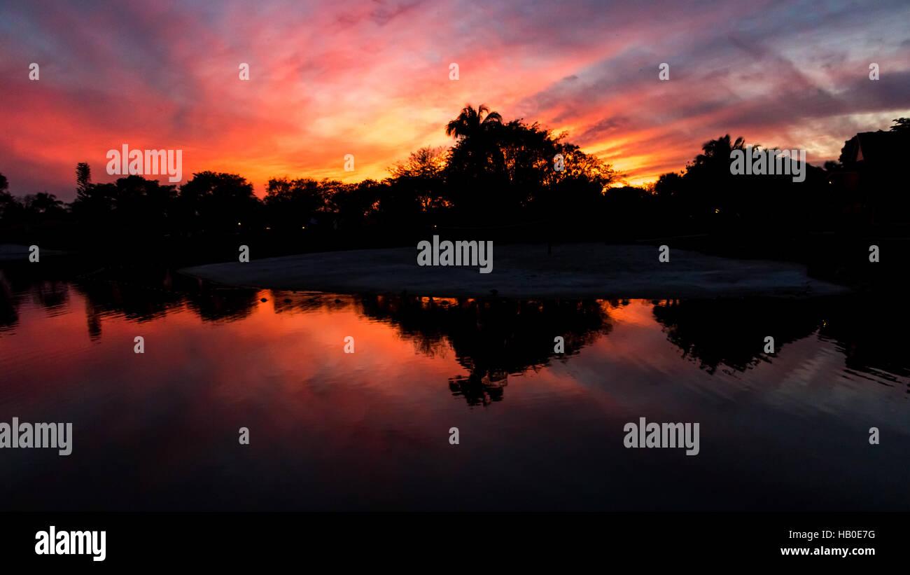 Sunset, Lake at The Hammocks, Kendall, Florida - Stock Image