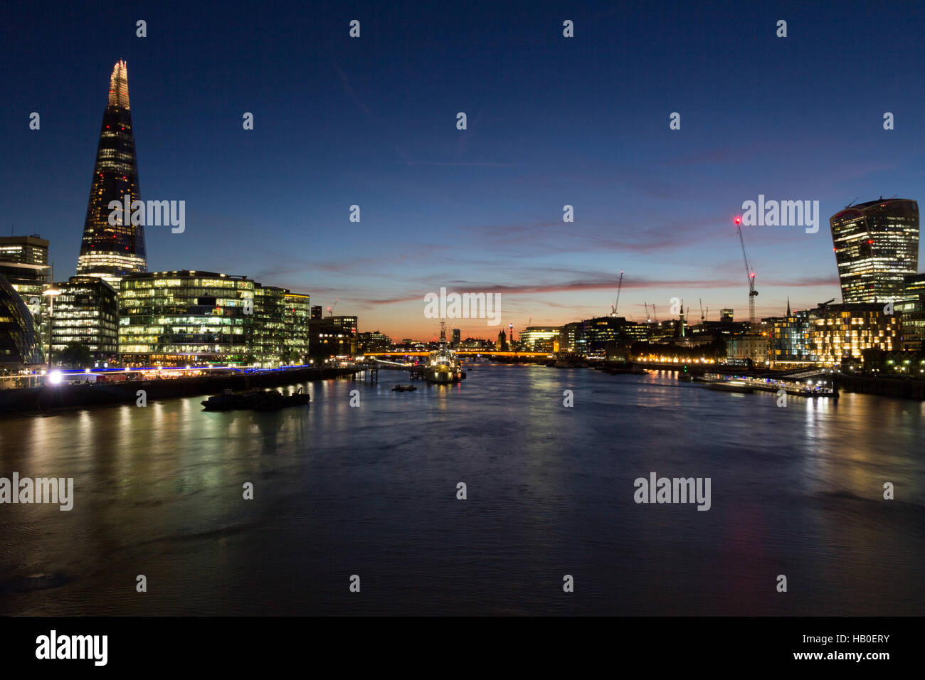 Night London cityscape with River Thames, Walkie Talkie, (20 Fenchurch Street) and the Shard (32 London Bridge Street) - Stock Image