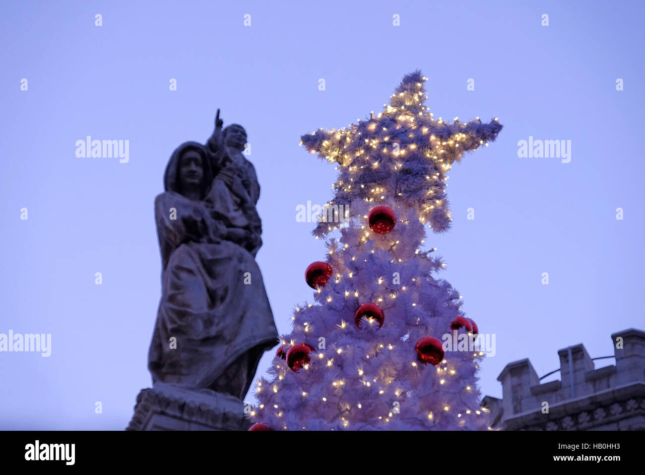 Christmas Tree In Front Notre Dame Stock Photos & Christmas Tree In ...