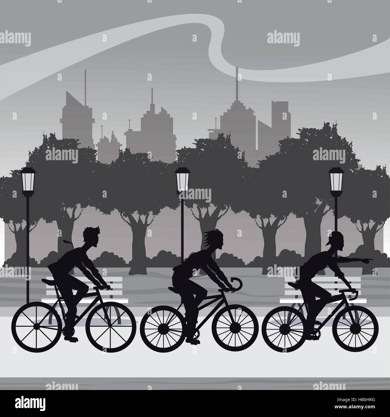 silhouette group younger riding bycicle park city background - Stock Vector
