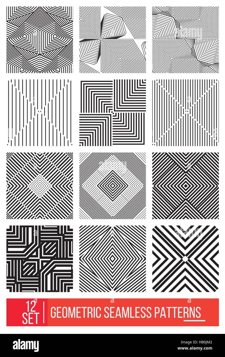Set of Universal different geometric seamless patterns, monochro - Stock Image