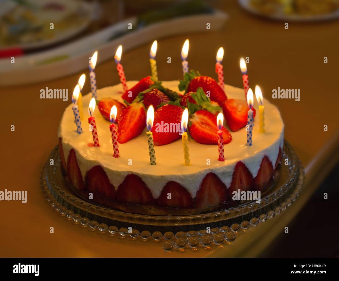 Strawberry Birthday Cake With Candles