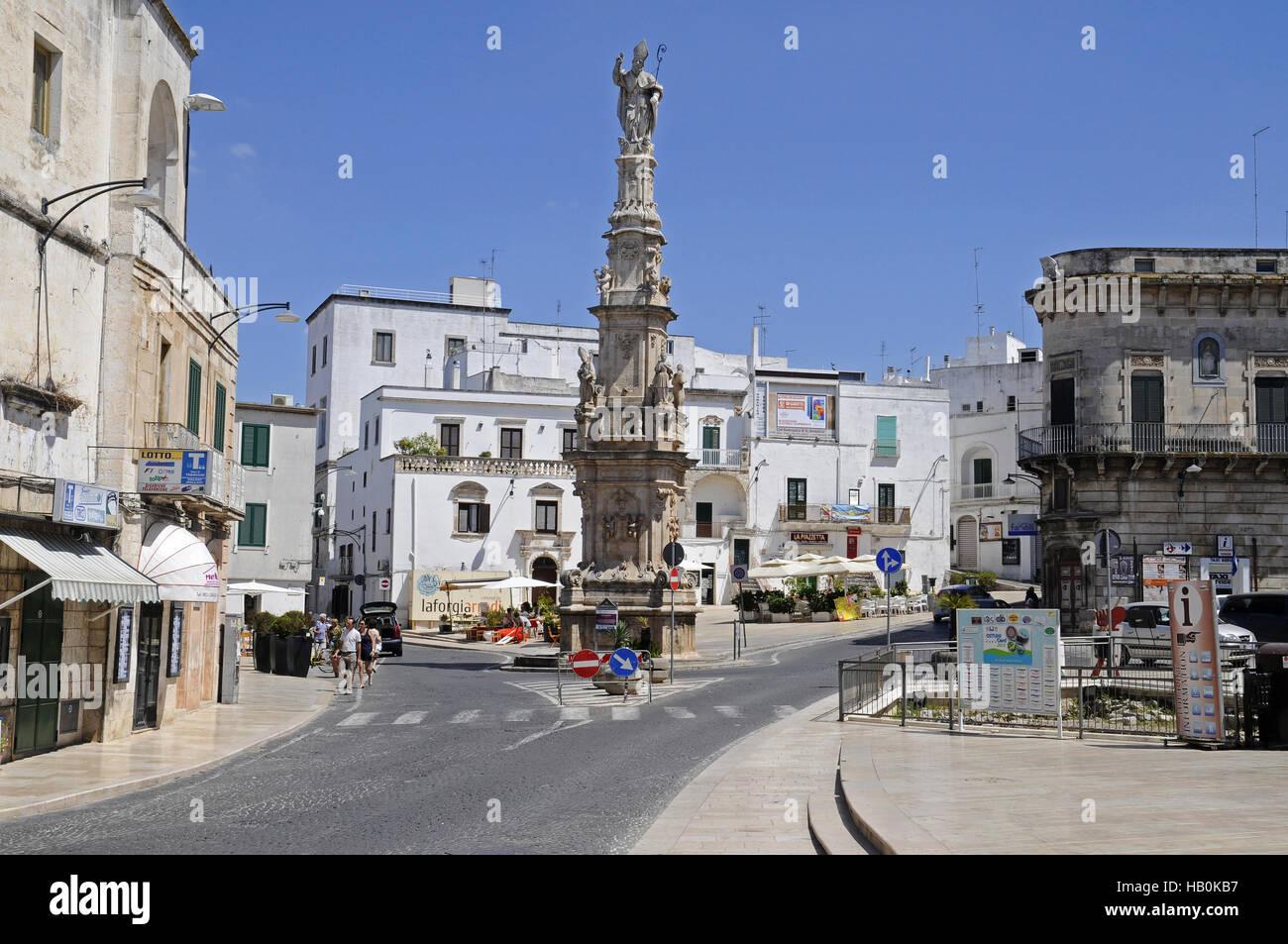 Piazza della Liberta, square, Ostuni, Italy - Stock Image