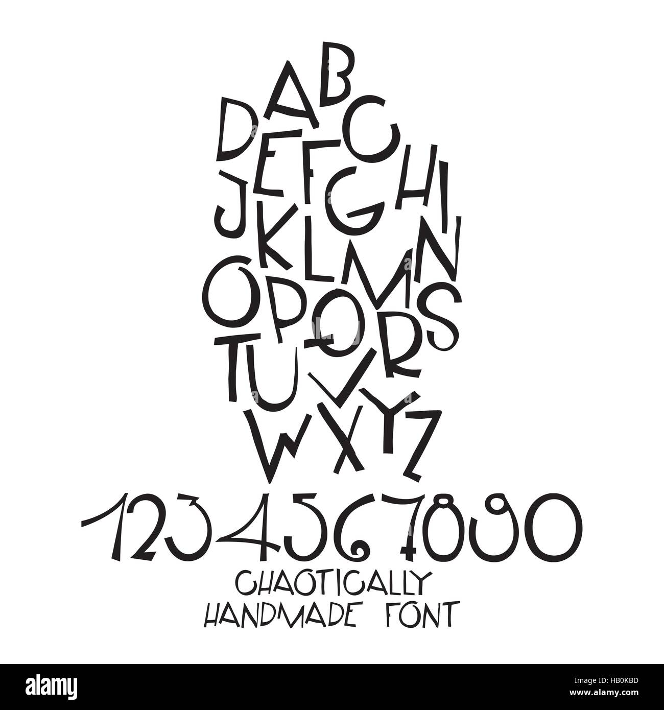 Chaotic decorative vector alphabet. Hand drawn letters, numbers - Stock Vector