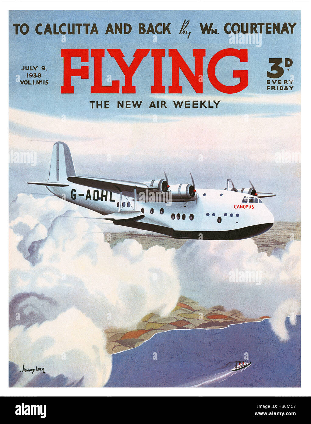 Front cover of Flying magazine for 9th July 1938 with an illustration by Howard Leigh of a Short Empire flying boat - Stock Image