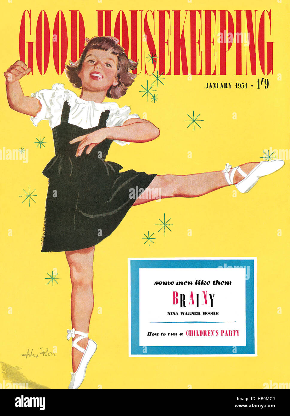 Front cover of Good Housekeeping magazine for January 1951 with an illustration by Alex Ross - Stock Image