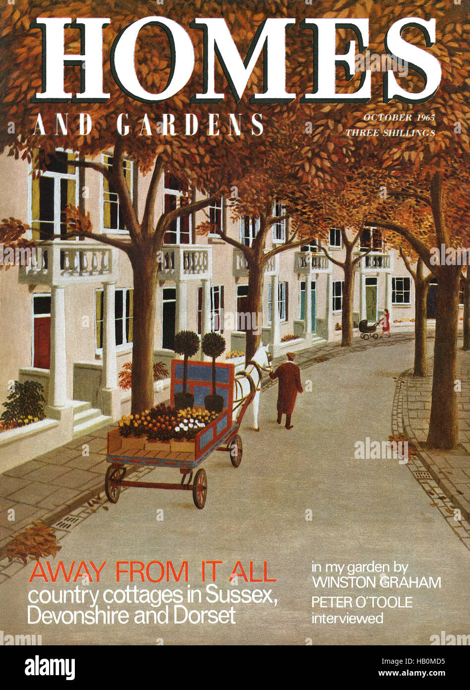 Front cover of Homes And Gardens magazine for October 1965 with an illustration by Bernard Carter - Stock Image
