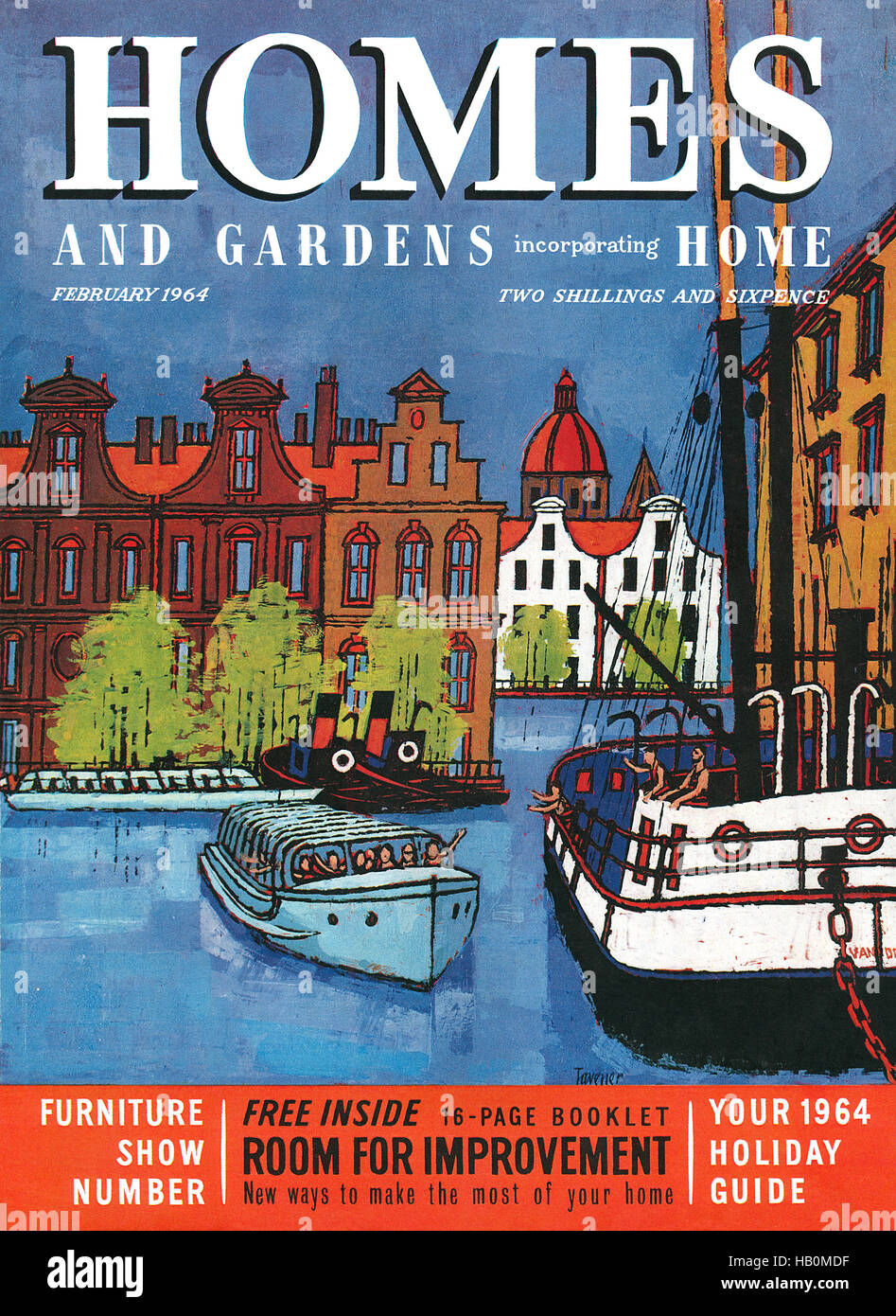 Front cover of Homes And Gardens magazine for February 1964 with an illustration by Robert Taverner - Stock Image