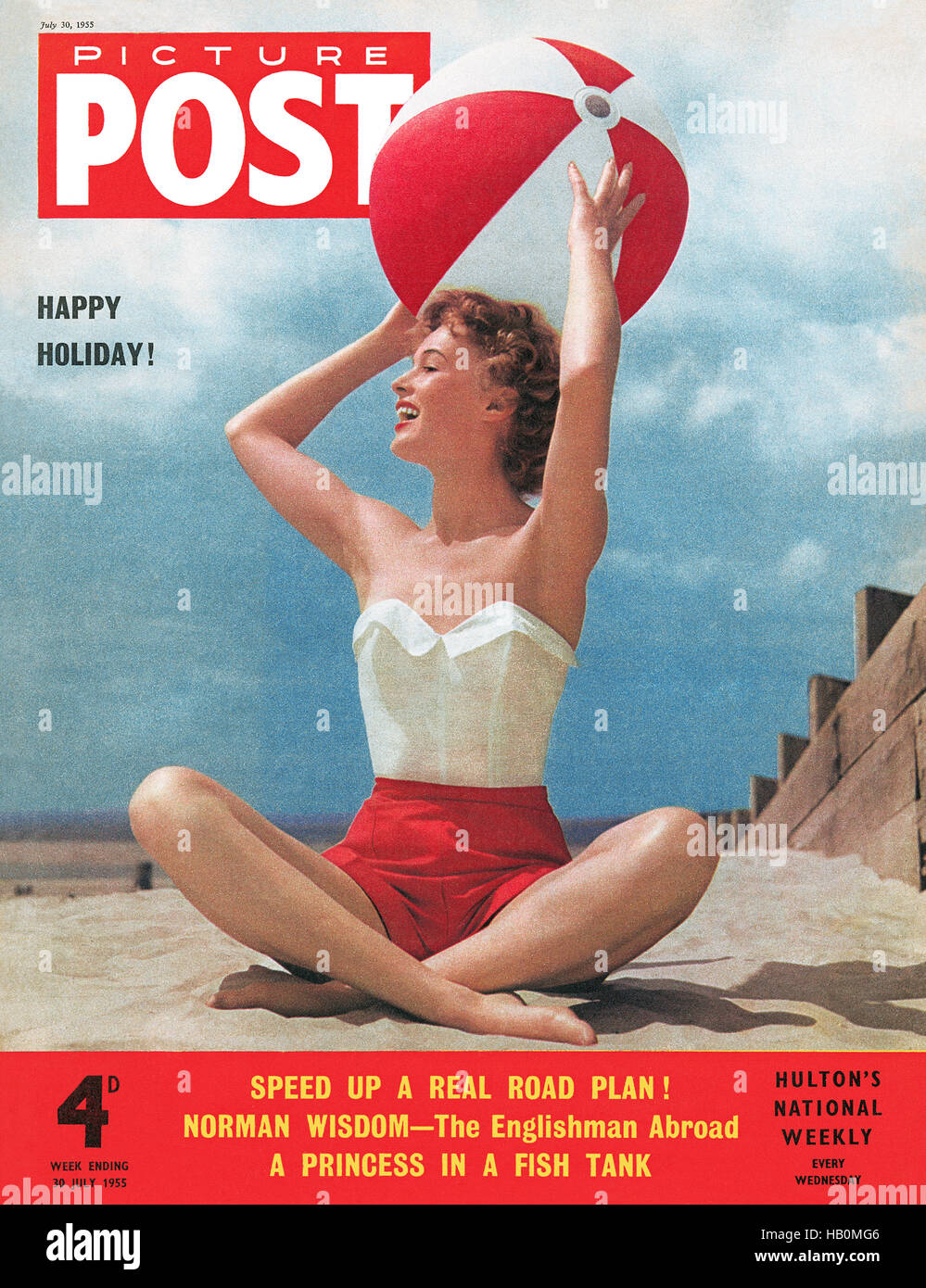 Front cover of Picture Post magazine for 30th July 1955, featuring model Jill Howard photographed by Neil Nimmo - Stock Image
