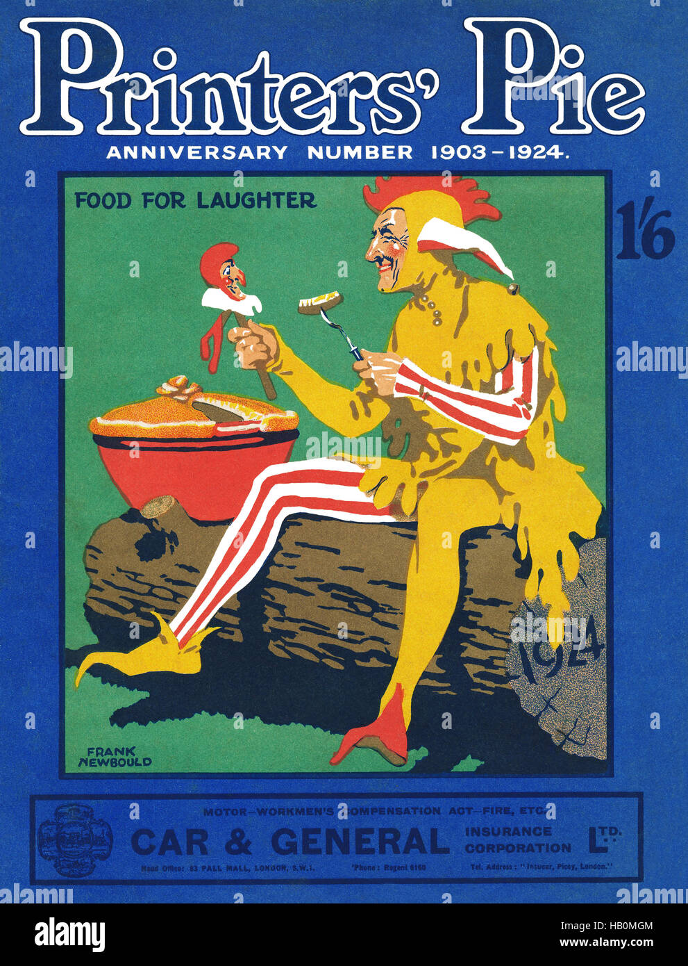 Front cover of a 1924 issue of Printers' Pie humorous magazine with an illustration by Frank Newbould - Stock Image