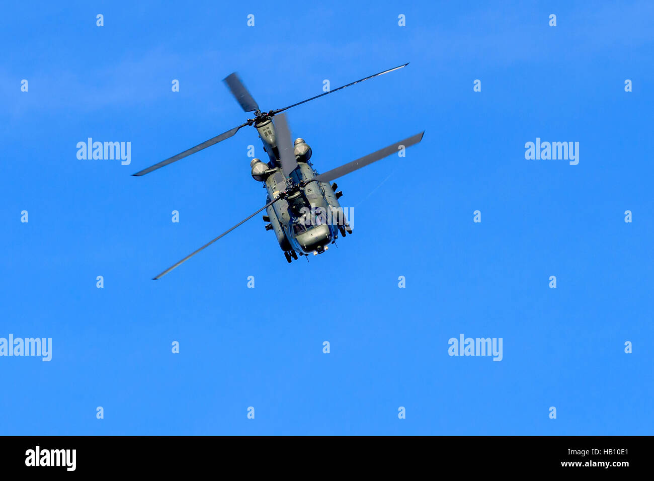 The Ch-47 Chinook Helicopter being displayed by the RAF display team at Southport Airshow - Stock Image