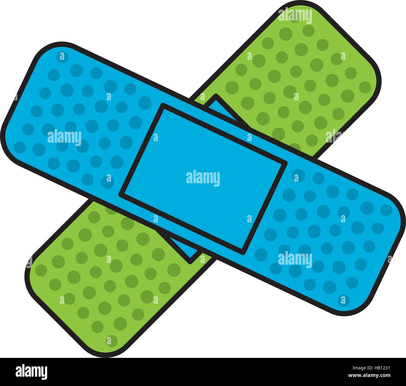 adhesive bandages crossed over white background. colorful design. vector illustration Stock Vector
