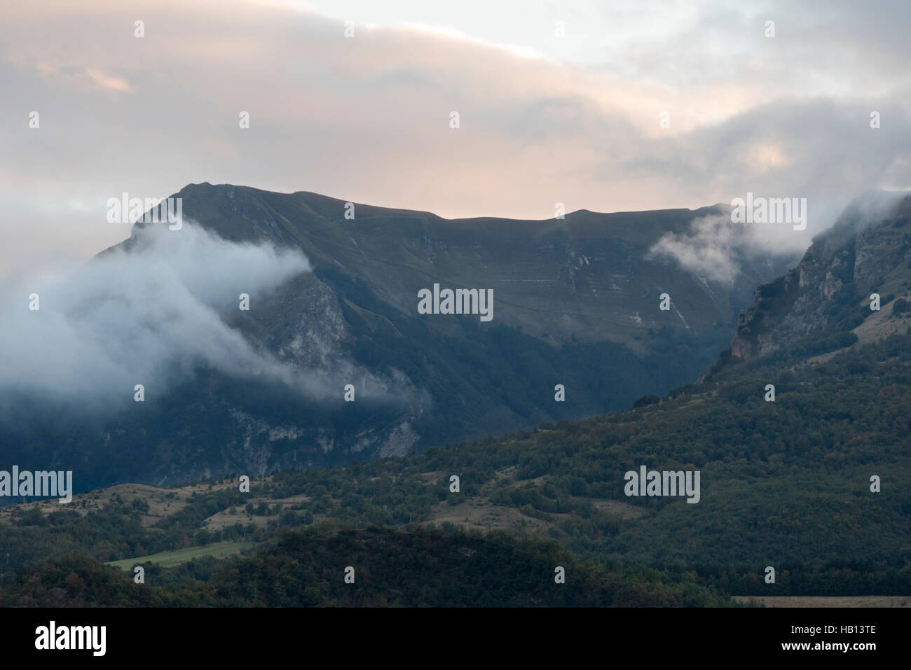 Dusk in the mountains of the Sibillini national park - Stock Image